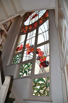 Inside of full moon window, designed by architect Léon Delune in Brussels, Modern Stained Glass Panels, Stained Glass Door, Stained Glass Designs, Stained Glass Patterns, Dream Home Design, House Design, L'art Du Vitrail, Stairs To Heaven, Art Nouveau