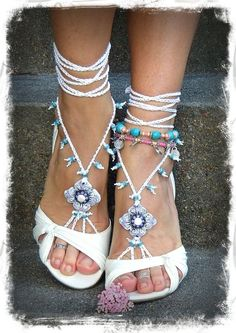 White BRIDAL BAREFOOT sandals WHITE Beach wedding kundalini Crochet sandals beaded foot jewelry Toe Anklet Narnia jewelry via Etsy