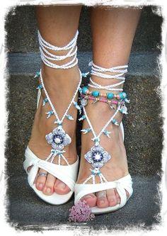 White BRIDAL BAREFOOT sandals WHITE Beach wedding kundalini Crochet sandals beaded foot jewelry Toe Anklet Narnia jewelry via Etsy