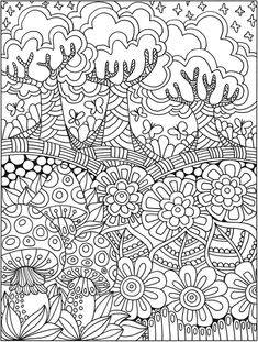 Welcome to Dover Publications - CH Entangled Forest Abstract Coloring Pages, Detailed Coloring Pages, Pattern Coloring Pages, Printable Adult Coloring Pages, Coloring Book Art, Fairy Coloring, Cute Coloring Pages, Doodle Coloring, Flower Coloring Pages