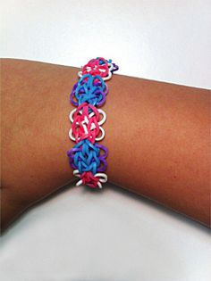 New Rainbow Loom Butterfly Blossom Rubber Band Bracelet Blue Pink Purple White