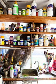 Art Supplies and cleaning station