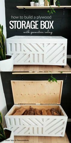 Easy Plywood Storage Box with Geometric Inlay – Diy Furniture Ideas Diy Furniture Projects, Diy Wood Projects, Woodworking Projects, Furniture Storage, Diy Storage Bench, Woodworking Furniture, Diy Projects For Bedroom, Blanket Storage, Woodworking Quotes