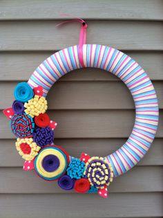 Spring Wreath  Multicolor Spring Yarn Wreath w/ от stringnthings, $42.00