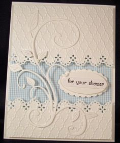 Stampin Up All Occasion Greeting Card Kit White - Gingham w/ Scroll & Sentiments