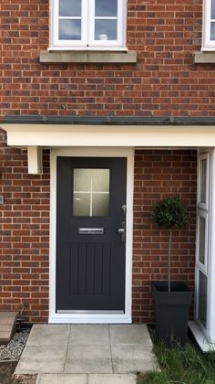 View our range of composite rockdoors on our website. These are the most secure composite doors you can get for your home. Composite Front Door, Cottage Door, Light In, Grey Houses, Back Doors, Georgian, Slate, Porch, Garage Doors