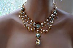 Bridal NecklaceWedding NecklaceSwarovski Crystal by cynthiacouture, $ 429.00