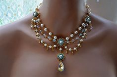 Bridal NecklaceWedding NecklaceSwarovski Crystal by cynthiacouture, $ 429.00