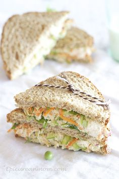 Chicken Salad Sandwich Yields 5-6 sandwiches Recipe Created by Epicurean Mom  Ingredients: 2 cups shredded chicken, I used rotisserie chicken 1/3 cup non-fat greek yogurt, I used 0% fage 1/4 cup reduced fat mayo 1/2 cup shredded carrot 1/3 cup sugar snap peas, shelled 1/4 cup chopped green onions 3-4 stalks asparagus, rinsed well and shaved 1/3 cup chopped red onion 2 stalks celery, coarsely chopped 1/4 cup coarsely chopped sliced almonds