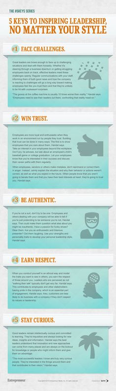 "5 Keys to Inspiring Leadership, No Matter Your Style #Infographic and article by Gwen Moran. ""What really matters is that leaders are able to create enthusiasm, empower their people, instill confidence and be inspiring to the people around them."":"
