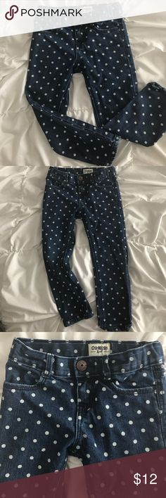 Osh Kosh polka dot jeans Darker wash denim with white polka dots. These were my favorite jeans that my daughter had! They looks so cute with almost any top! Only sign of wear is some slight discoloration on the knees. Osh Kosh Bottoms Jeans