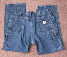 Womens CARHARTT Blue Denim Jeans Carpenter Size 16 30 Medium Light Wash #Carhartt #Carpenter