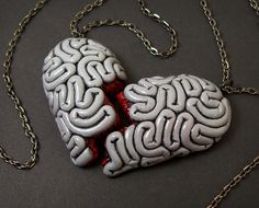 I Heart Brains Best Friend Necklace Set in gray by beatblack, $40.00