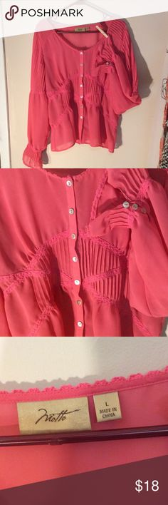 """Sheer button down Lace ruffle detail"""" Motto""""blouse Very pretty feminine  Boho style button down blouse Pretty lace and ruffle detail Bell sleeves with button detail at wrist lace and ruffle detail In back at waist 100% polyester New condition Melon color moto Tops Blouses"""