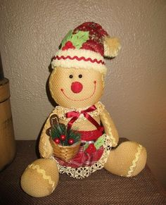 Country Primitive Plush Gingerbread Doll w Christmas Basket Glittered Decor | eBay