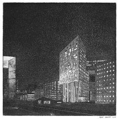 Medhi Zannad-aquatinte -castle light Aba, Screen Printing, Skyscraper, Multi Story Building, Castle, Drawing Drawing, Screen Printing Press, Skyscrapers, Silk Screen Printing