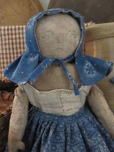 Fat Hen Farm Primitive Rag Doll Early Blue Calico | eBay