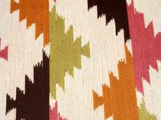 Rich Pink, Orange, Soft Seagreen, Dark Chocolate Brown Geometric Modern Southwestern Design Fabric, Very Soft Hand but Wears Like Iron, Perfect for Upholstery of all Sorts, Drapery, Bedding & So Many