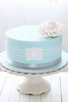 Another version of Tiffany pearls inspired Peony cake by Bake-a-boo Cakes Gorgeous Cakes, Pretty Cakes, Amazing Cakes, Fondant Cakes, Cupcake Cakes, Bake A Boo, Tiffany Cakes, Peony Cake, Birthday Cakes For Women