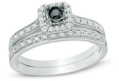 1/3 CT. T.W. Enhanced Black and White Diamond Square Frame Bridal Set in Sterling Silver - $201.69
