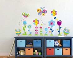 Removable Cartoon DIY New arrival Owl flower Butterfly sticke Art Vinyl Home Wall Stickers Decor Mural Decal kids room JM5116