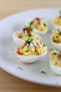 Buffalo Blue Cheese Deviled Eggs   Easter Recipes