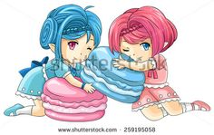 Cute cartoon macaron nymphs, the goddess of candy, create by vector