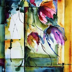 Intensément (Peinture), 30x30 cm par Véronique Piaser-Moyen Aquarelle originale sur papier 300 G