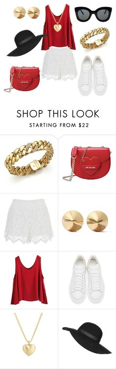 """""""simple summer"""" by aniri310 on Polyvore featuring Roberto Coin, Love Moschino, Eddie Borgo, WithChic, Alexander McQueen, Finn, Topshop, CÉLINE, women's clothing and women"""