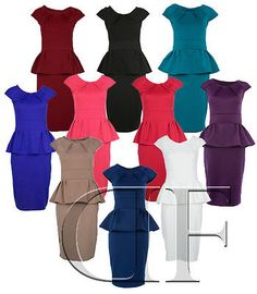NEW LADIES WOMENS PENCIL SHIFT STRETCH PEPLUM DRESS BLUE PINK RED CREAM 8 - 14