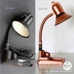 Como reformar luminária velha com tinta spray - Passo a passo com fotos - How to renovate an old lamp using spray paint - DIY tutorial  - Madame Criativa - www.madamecriativa.com.br