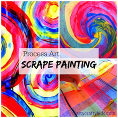 Scrape painting is a super art process for colour mixing! using just red, yellow and blue paint the kids created bold and colourful works of art with an amazing range of new colours.
