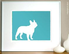 #Frenchie puppy print in TEAL? I need this!