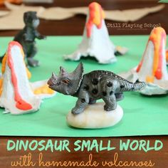 We made the perfect volcanoes for dinosaur small world play using a few household items! The volcanoes turned out better than I envisioned ...