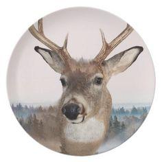 Whitetail Deer Double Exposure Melamine Plate