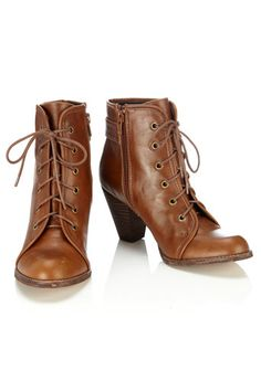 Tan Lace up Ankle Boot