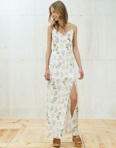 Long open-sided floral print dress