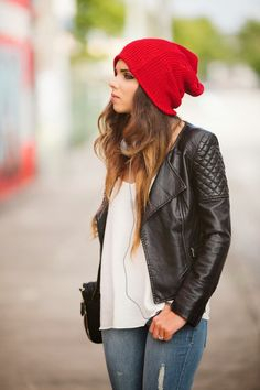 Idea: with my new red beanie and black leather jacket! And a white tank