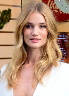 If you're fair like Rosie Huntington-Whiteley try a warm, strawberry blonde hue with lots of dimension this fall.
