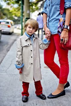 """although i find this kid creepy, in a """"REDRUM"""" kind of way, his BURBERRY trench, red denim and hardware loafers are stylish beyond his years!"""