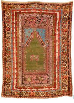 Antique Anatolian Yoruk (Nomadic) Woolen, hand-knotted Praying Rug, Turkey