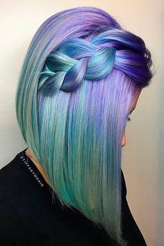 2019 Optimal Power Flow Exotic Hair Color Ideas for Hot and Chic Celebrity Hairstyles – Page 8 – My Beauty Note Exotic Hair Color, Beautiful Hair Color, Beautiful Ladies, Short Hair Cuts, Short Hair Styles, Pelo Multicolor, Mermaid Hair, Mermaid Makeup, Crazy Hair