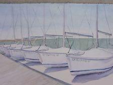 Boats In Line, Newport Sea Base Original Watercolor Painting~ RAMfish Artist
