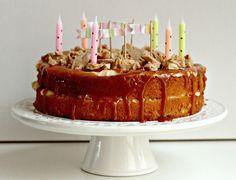 Milk and Honey: Caramel Cake with Caramel Mascarpone Buttercream, Salted Caramel Sauce and Toffee Almond Crunch