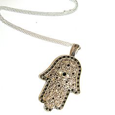 Elsie & Fred | Giant Antique Silver Hamsa Necklace