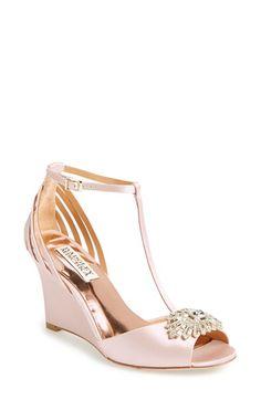 Badgley Mischka 'Milly' T-Strap Wedge Sandal (Women)