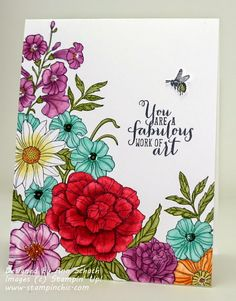 The Stampin' Schach - SU - One layer card using Blendabilities - Corner Garden, Work of Art stamp sets