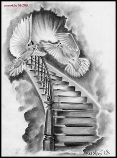 15 Super Ideas Stairs Tattoo Super Ideas Stairs Tattoo Black tattoo stairsStairs tattoo drawing ideasStairs tattoo drawing Ideas drawing tattoo stairsStairs to Sky Sky to stairs - stairs to Stairs to Sky Stairway To Heaven, Stairs To Heaven Tattoo, Religion Tattoos, Dove Tattoos, Bild Tattoos, Celtic Tattoos, Forearm Sleeve Tattoos, Tattoo Sleeve Designs, Angel Sleeve Tattoo
