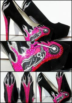 Biker Chic or Motor Cycles Heels with Swarovski by WickedAddiction, $175.00