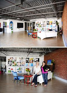 studio ideas  Natural Light Studio- Love the look. White walls, Brick wall, metal rafter ceiling.